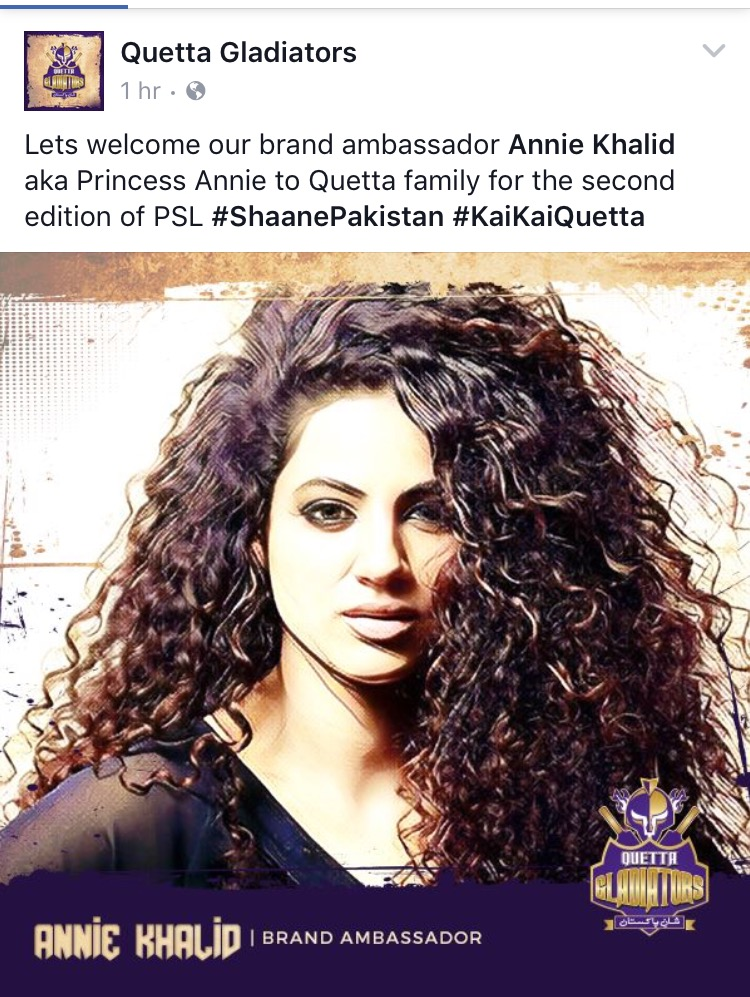 Lets welcome our brand ambassador Annie Khalid aka Princess Annie to Quetta family for the second edition of PSL #ShaanePakistan #KaiKaiQuetta