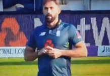 Alleged ball tampering by England's Liam Plunkett